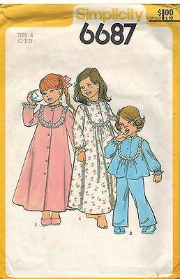 6687 Vintage Simplicity Nähmuster Mädchen Robe Nachthemd Schlafanzug Nachtwäsche (Vintage Mädchen Nachthemd)