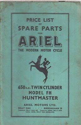 ARIEL 650cc MODEL FH HUNTMASTER ORIG. 1956 FACTORY ILLUSTRATED PARTS CATALOGUE