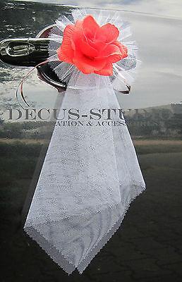 2 Schleifen für Dekoration der Türgriffe Auto Deko Autoschmuck Hochzeit AT005-XX