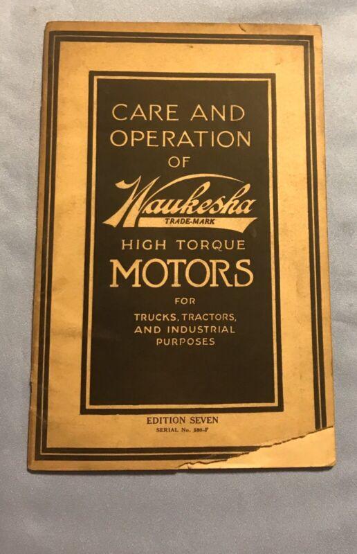 waukesha Care And Operation Manual Of High Torque Motors