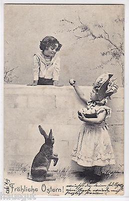 Fröhliche Ostern Kinder mit Hase Ostereier AK 1903
