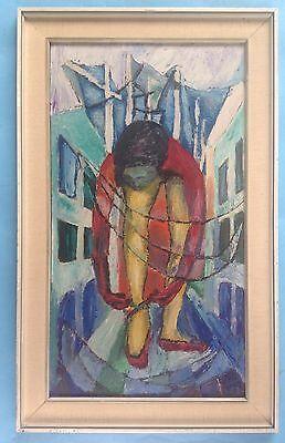 Abstrakte Mädchen (Kubismus abstrakt Ölgemälde Mädchen Ballet Tänzerin Schuhbinderin Signatur? 1963)