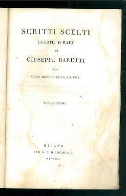 BARETTI GIUSEPPE SCRITTI SCELTI INEDITI O RARI BIANCHI 1822 1823 2 VOLUMI