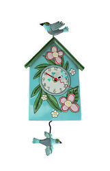 Allen Designs Blessed Nest Birdhouse and Birds Pendulum Wall Clock