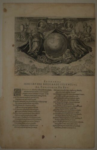 1594 Genuine Antique page, etching, epigram to Boissardi. by T. De Bry