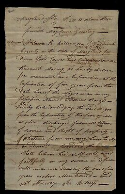 Early 1796 Frederick County, Maryland - SLAVE HIRE DOCUMENT - Historic Find !!