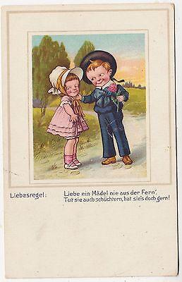TWO LITTLE CHILDREN - Girl & Boy - Liebesregel - c1900s era postcard