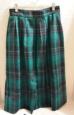 Miss Pendleton Vintage 10 Sea Green Tartan Plaid Skirt 100% Wool Pockets Classic