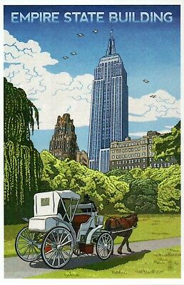 Empire State Building New York City Horse Carriage Central Park, Modern Postcard