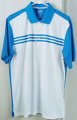 NWT Adidas ClimaCool 3-Stripe Polo, Color-White/Oasis, Style #Z22064, Large