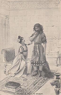 CK21.Vintage Postcard. Samson and Delilah. Suspicions.Bible characters.