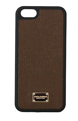 NEW $200 DOLCE & GABBANA Phone Case Brown Leather Gold Logo Cover iPhone5