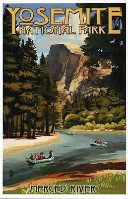 Merced River Rafting, Yosemite National Park California, Trees - Modern Postcard