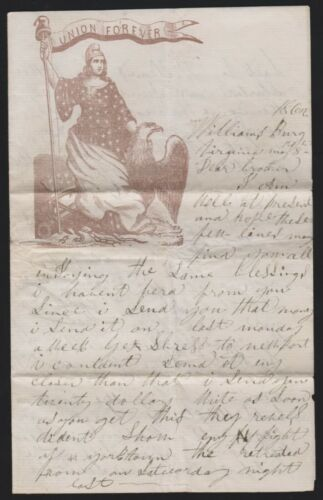 """Civil War letter Williamsburg Battle soldier account """"Union Forever"""" stationery"""