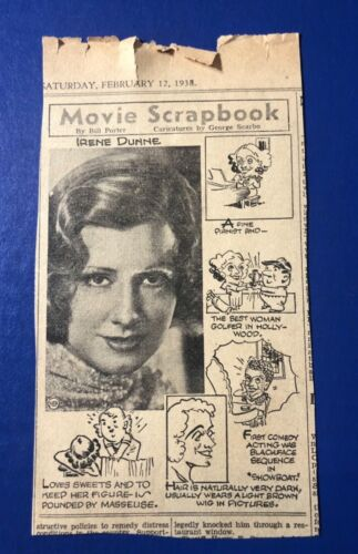 "1938 ""Movie Scrapbook by Bill Porter"" Irene Dunne ""Show Boat"" print ad 7.5x4"""