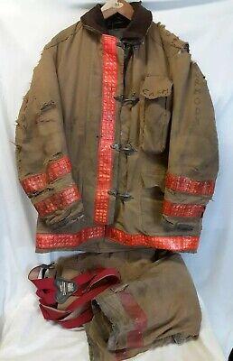 Globe Firefighter Suit Gear Coat Size 44 Pants 3430 Used Worn Vintage Set Usa