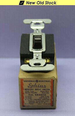 Vintage Ge Sphinx Textolite 3-way Mercury Break Toggle Switch 5a250v - Rare