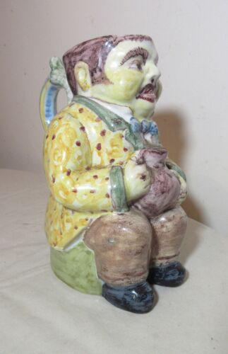 vintage handmade Portuguese majolica pottery figural toby jug mug stein pitcher
