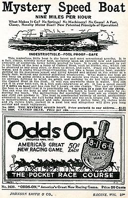 1928 trifling Print Ad of Odds On Spinner Horse Race Game & Mystery Speed Boat