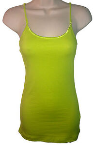 Long Adjustable Cotton Spaghetti Strap Tank Top Cami Small/Medium/Large - NEON
