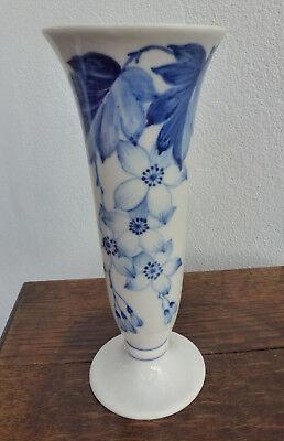 Original Hutschenreuther Vase, handgemalt, weiß mit Kobalt, 20 cm, Topzustand