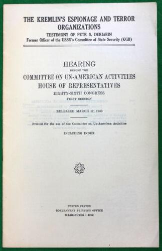 Original 1959 Committee on Un-American Activities Kremlin Espionage KGB