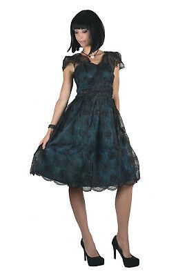VOODOO VIXEN RETRO PIN UP 50s MAY TEAL LACE OVERLAY TAFFETA BLUE DRESS - Teal 50s Dress