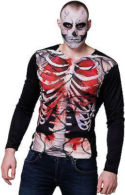 Bloody Skelett Shirt NEU - Herren Karneval Fasching Verkleidung Kostüm