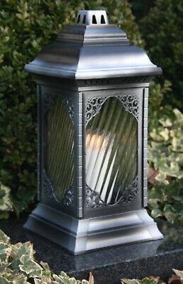 Grablaterne Grablampe 36cm Silber inkl Grablicht Kerze Grableuchte Grabschmuck