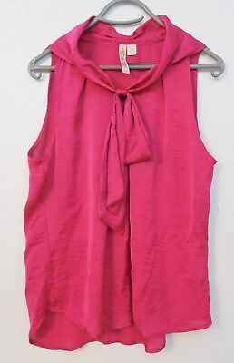adiva Women's Hot Pink Bow Top Sleeveless Large Shirt ()