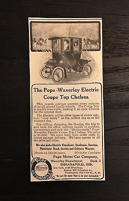 Small Pope Waverley Magazine Ad Electric Motor Car Automobile Chelsea Coupe Top