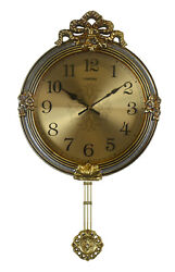 Gold & Silver Round Wall Clock, Fine Carvings & Pendulum Baroque Victorian Style