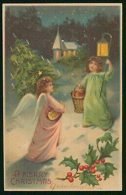 Mayfairstamps Christmas Angels & Tree Postcard wwp2447
