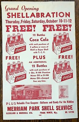 1950s SHELL Oil & Gas STATION St Paul Minnesota COCA COLA Advertising Paper Sign