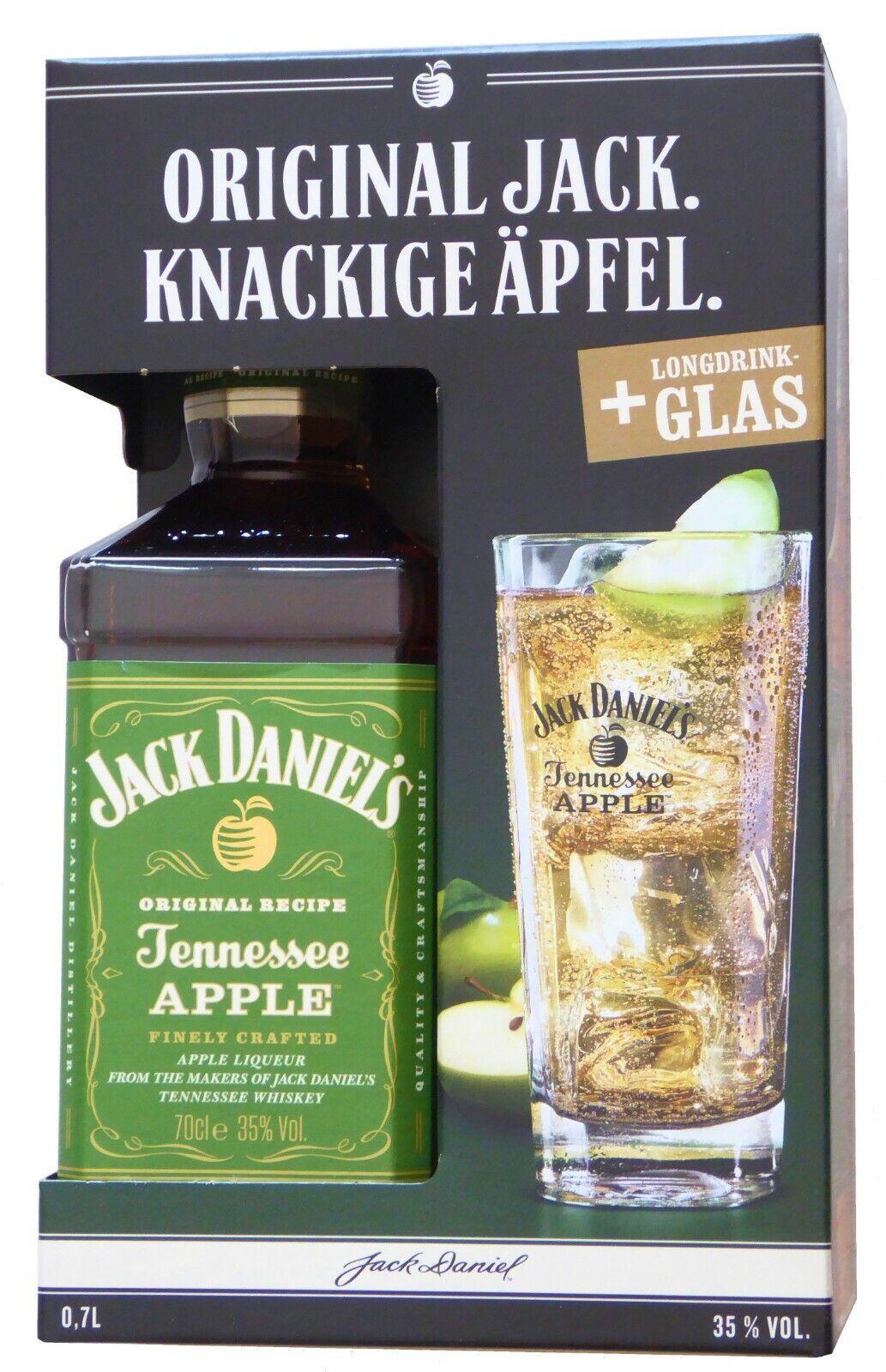 GP 49,99€/1L - Jack Daniels Tennessee APPLE Apfel Liqueur 0,7 Liter 35% mit Glas