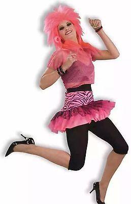 Women's 80's Hot Pink Skirt Punk Rocker Party Valley Girl Adult Size Standard - 80s Girl Rockers