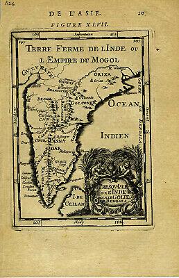 1683 Genuine Antique map India, Ceylon, elaborate cartouche. A.M. Mallet