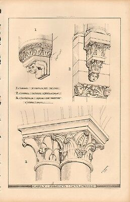 1868 ANTIQUE ARCHITECTURE, DESIGN PRINT- EARLY FRENCH SCULPTURE
