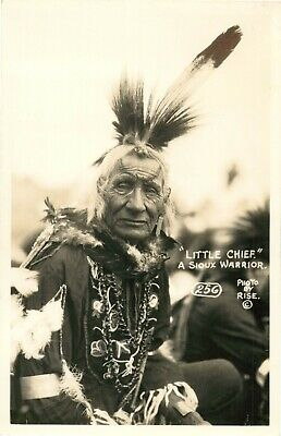 Sioux Warrior ~LITTLE CHIEF~ Native American / Indian RISE RPPC / Photo Postcard