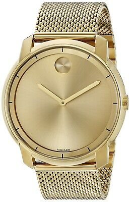 Movado Bold Gold Tone Stainless Steel Mesh 44MM Quartz Unisex Watch 3600373