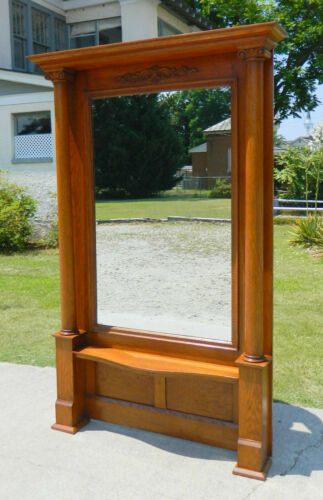 Beautiful Tiger Oak Hall Mirror~~Large with Columns