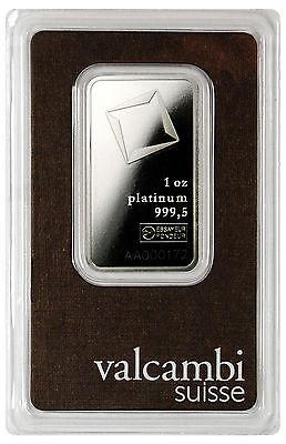 Valcambi Suisse 1 Oz Platinum Bar - Sealed w/ Assay Cert. SKU28602