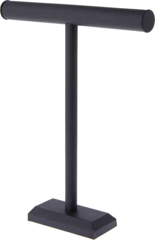 """Plymor Black Faux Leather T-Bar Necklace Display Stand, 14"""" W x 18"""" H"""