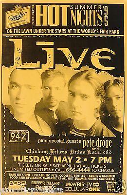 LIVE /PETE DROGE 1995 KNOXVILLE CONCERT TOUR POSTER-Ed Kowalczyk, Alt Rock Music