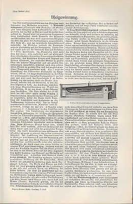 Lithografien 1907: Bleigewinnung. Blei Flamm-Schacht-Ofen Kessel Tarnowitzer