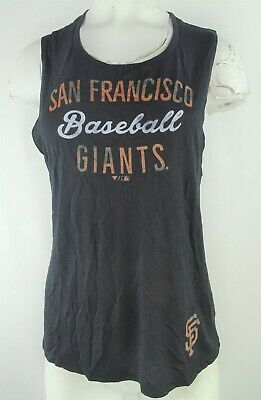 San Francisco Giants Women's Distressed Crew neck Muscle Shirt in Black - Ladies Black Distressed Crewneck