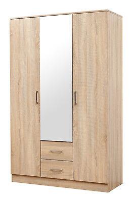 3 Door Mirrored Wardrobe - Sonoma Oak Bedroom Furniture