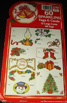 Vintage Christmas Gift Tags Cards 1985 Peck Inc. 60 pcs Sealed in orig. pkg.