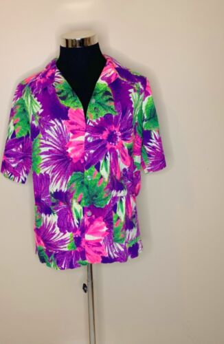 Mei Jan of Hawaii Vintage 60's Size 18 Tropical Barkcloth Button  Pockets Blouse