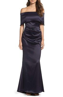 NEW VINCE CAMUTO Navy Blue Satin Off the Shoulder Ruched Flare Fishtail Gown 12
